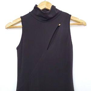 Black Bead Dresses - Black Bead Black Slit Front Midi Bodycon Dress